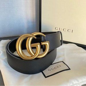 ۞Gucci Black Leather Gold Double GG;;'' Belt. 90CM